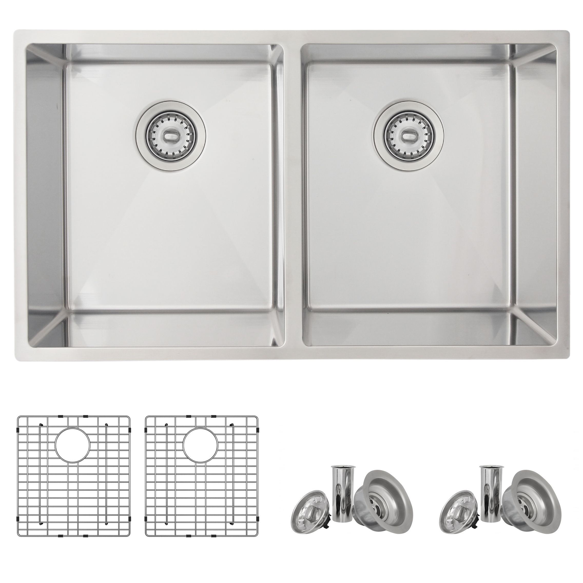 Azuni - Maxi C233  32 inch L x 18 inch W Double Basin Undermount Kitchen Sink With Grids and Basket Strainers