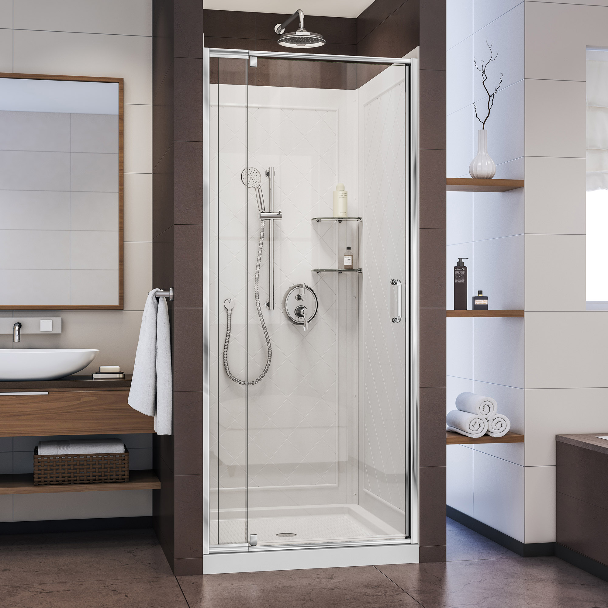 DreamLine Flex DL-6217C-01CL Pivot Shower Door in Chrome with White Base and Backwalls