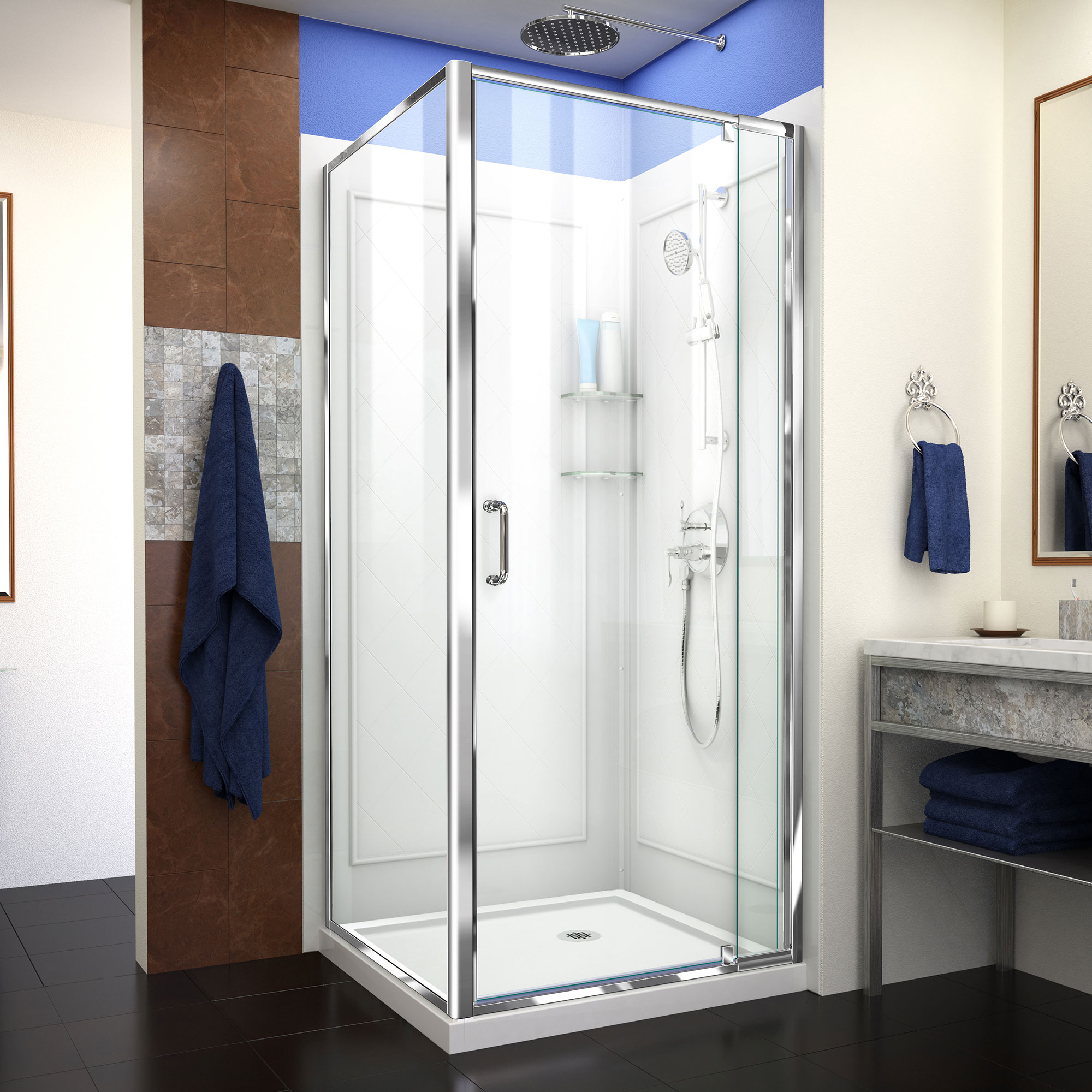 DreamLine Flex DL-6716-01CL Pivot Shower Enclosure in Chrome with White Base and Backwalls