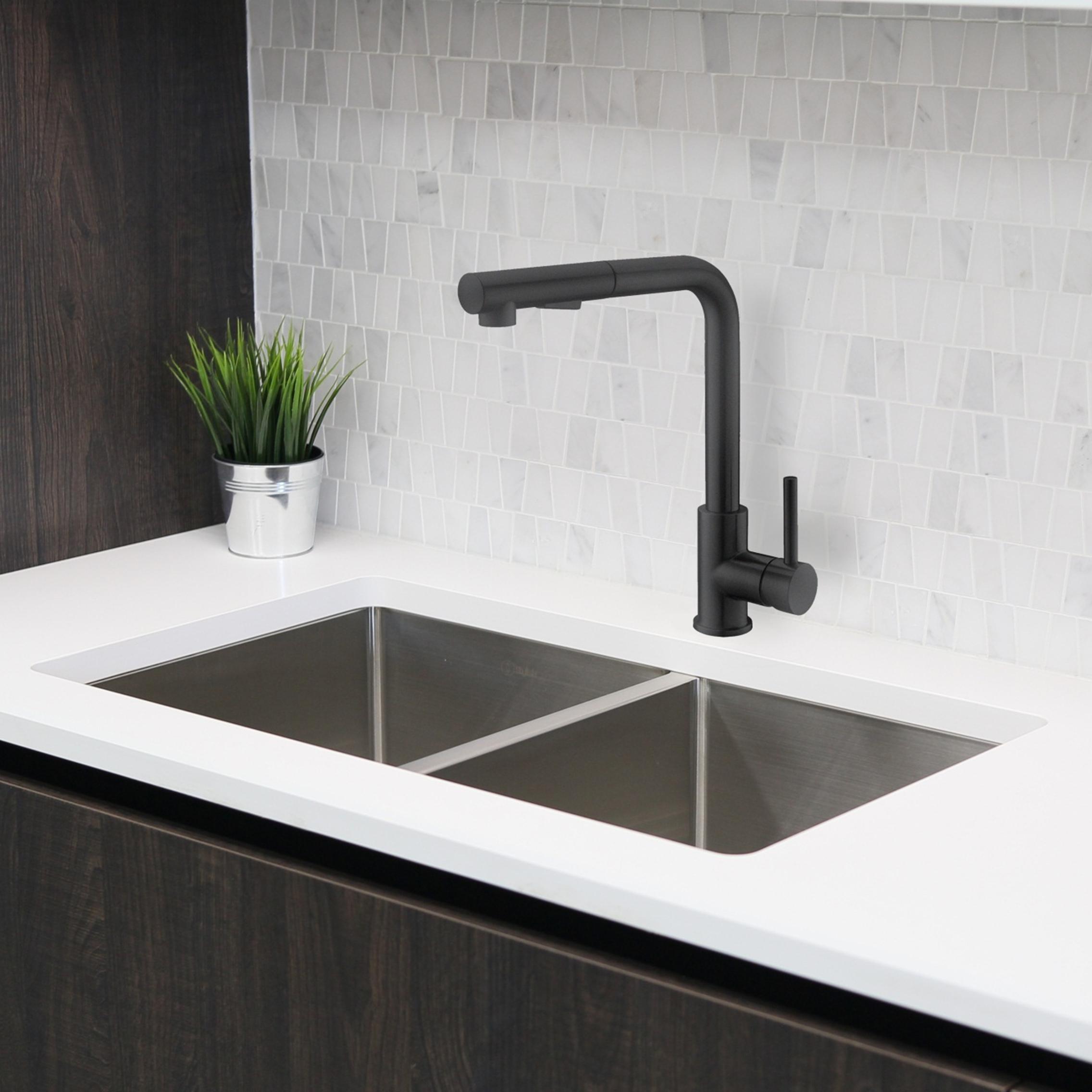stylish venezia k 130n pull down matte black kitchen faucet