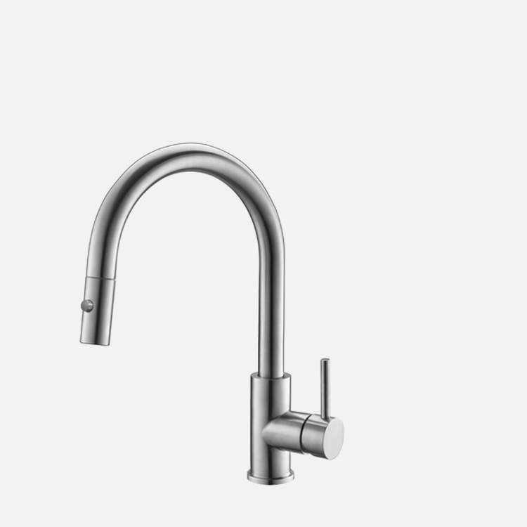 Stylish - Single Handle Pull Down Stainless Steel Kitchen Faucet K-131S