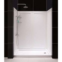 Dreamline DL-6191R-01   34 in. D x 60 in. W x 76 3/4 in. H Right Drain Acrylic Shower Base and QWALL-5 Backwall Kit In White