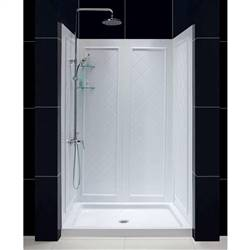 Dreamline DL-6193C-01   36 in. D x 48 in. W x 76 3/4 in. H Center Drain Acrylic Shower Base and QWALL-5 Backwall Kit In White
