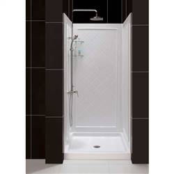 Dreamline DL-6195C-01   32 in. D x 32 in. W x 76 3/4 in. H Center Drain Acrylic Shower Base and QWALL-5 Backwall Kit In White