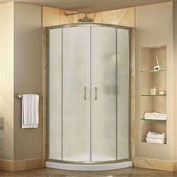 DreamLine Prime DL-6701-04FR Sliding Shower Enclosure in Brushed Nickel with White Acrylic Base Kit