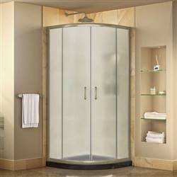 DreamLine Prime DL-6701-89-04FR Sliding Shower Enclosure in Brushed Nickel with Black Acrylic Base Kit