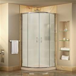 DreamLine Prime DL-6703-22-01FR Sliding Shower Enclosure in Chrome with Biscuit Acrylic Base Kit
