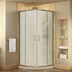 DreamLine Prime DL-6703-22-04FR Sliding Shower Enclosure in Brushed Nickel with Biscuit Acrylic Base Kit