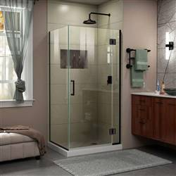 DreamLine Unidoor-X E12334-09 Hinged Shower Enclosure in Satin Black
