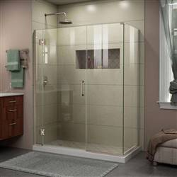 DreamLine Unidoor-X E12514534-04 45 1/2 in. W x 34 3/8 in. D x 72 in. H Frameless Hinged Shower Enclosure in Brushed Nickel