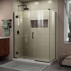DreamLine Unidoor-X  E12514534-09 45 1/2 in. W x 34 3/8 in. D x 72 in. H Frameless Hinged Shower Enclosure in Satin Black