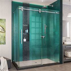 DreamLine Enigma-XO SHEN-6132542-07 Sliding Shower Enclosure in Brushed Stainless Steel