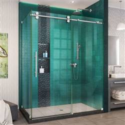 DreamLine Enigma-XO SHEN-6132542-08 Sliding Shower Enclosure in Polished Stainless Steel