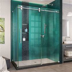 DreamLine Enigma-XO SHEN-6132602-08 Sliding Shower Enclosure in Polished Stainless Steel