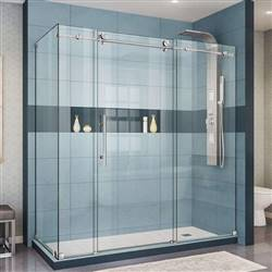 DreamLine Enigma-X SHEN-6132721-07 Sliding Shower Enclosure in Brushed Stainless Steel