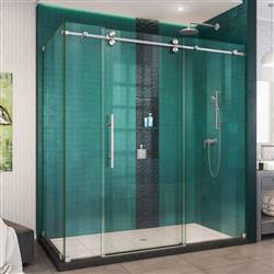 DreamLine Enigma-XO SHEN-6132722-07 Sliding Shower Enclosure in Brushed Stainless Steel