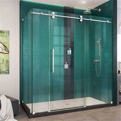 DreamLine Enigma-XO SHEN-6132722-08 Sliding Shower Enclosure in Polished Stainless Steel