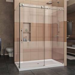 DreamLine Enigma-X SHEN-6134600-07 Sliding Shower Enclosure in Brushed Stainless Steel
