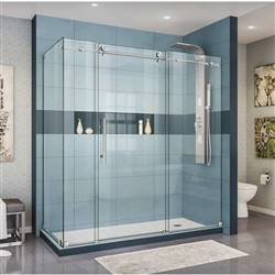 DreamLine Enigma-X SHEN-6134720-07 Sliding Shower Enclosure in Brushed Stainless Steel