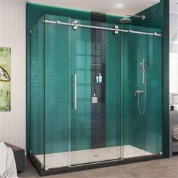 DreamLine Enigma-XO SHEN-6134722-07 Sliding Shower Enclosure in Brushed Stainless Steel