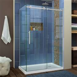 DreamLine Enigma Air SHEN-6434480-07 34 3/4 in. D x 48 3/8 in. W x 76 in. H Sliding Shower Enclosure in Brushed Stainless Steel