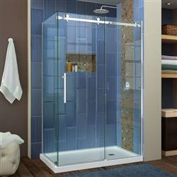 DreamLine Enigma Air SHEN-6434480-08  34 3/4 in. D x 48 3/8 in. W x 76 in. H Sliding Shower Enclosure in Polished Stainless Steel