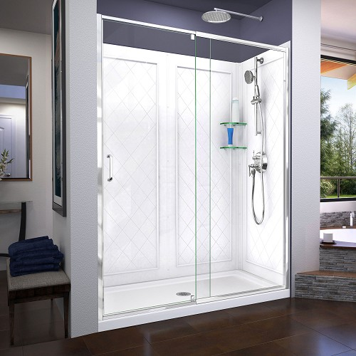 DreamLine Flex DL-6230C-01 Pivot Shower Door in Chrome with White Base and Backwalls