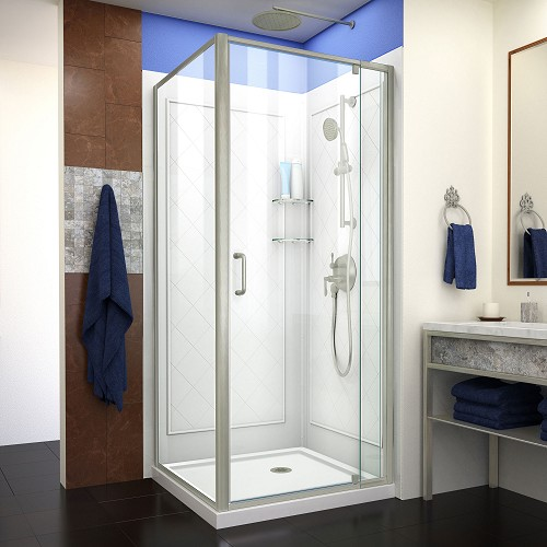 DreamLine Flex DL-6717-04CL Pivot Shower Enclosure in Brushed Nickel with White Base and Backwalls