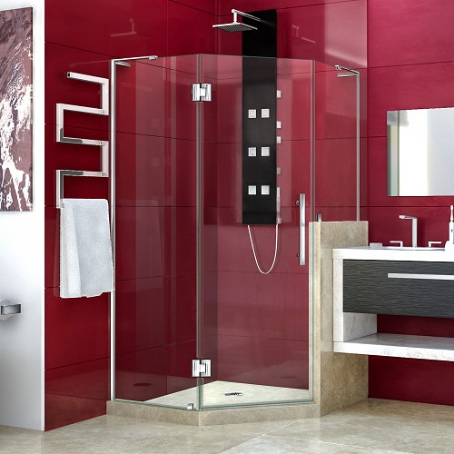 DreamLine Prism Plus E264072-134-01 Neo-Angle Hinged Shower Enclosure with Half Panel in Chrome