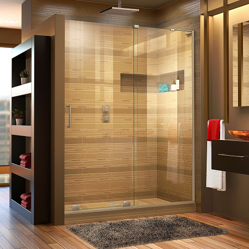 DreamLine Mirage-X SHDR-1948723R-04 Sliding Shower Door in Brushed Nickel; Right Wall Installation