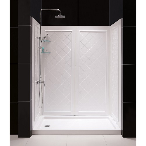 Dreamline DL-6189L-01   30 in. D x 60 in. W x 76 3/4 in. H Left Drain Acrylic Shower Base and QWALL-5 Backwall Kit In White